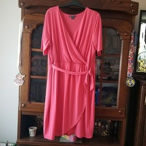 Pink faux wrap dress